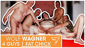 Swinger orgy! Fat slut enjoys 3 abiding cocks! WolfWagner.com
