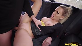 Rough back seat porn for a busty MILF on fire