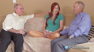Young Babe lets these 2 old men hump her