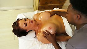 Black masseur fucks butchery hot cougar Vanessa Videl and cums in their way mouth