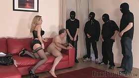 Whorish mistress in stockings corset Eleise de Lacy puts on strapon and punishes fat tramp
