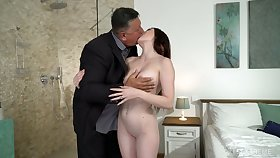 Cute young impenetrable Mia Evans is eager for crazy sex almost experienced old stepdad
