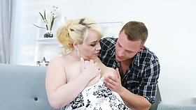 Young dude fucks nextdoor chubby housewife Natalie while her husband is on a operation love affair trip