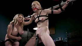 BDSM femdom jugs with Frantic Hunter and Aiden Starr
