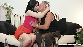 Slutty young chick Sheril Lay open hooks up with one kinky old fart