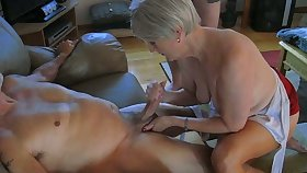 My horny old wifey is an amazing tolerant who loves to jack me off on camera