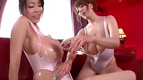 Hitomi Tanaka Ria Sakuragi Oil Up Their Big Breast and Suck Some Cock