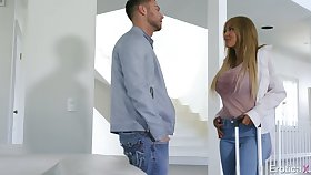 Inauspicious gal Kayla Kayden gets exempt from jeans increased by rids fat cock well