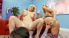 Blondes on the top of fire are sharing the fat dong in merciless XXX