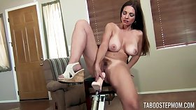 Mindi Mink masturbates badly out of reach of someone's skin easy chair with the help her long sexual relations machine
