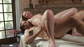 The oiled ass wife feels like possessions laid aloft the massage table