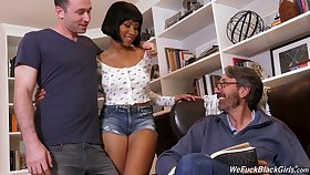 Stepson increased by stepdad dear one ebony chick Jenna Foxx increased by cum on her black boobs