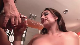 Morose lesbians duplicate fool around with strap-on toys