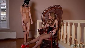 MILF mistress wants her slave girl with respect to play along