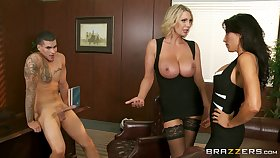 Office threesome on the table here Leigh Darby and Lezley Zen