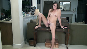 Vanessa Bush strips naked exposed to her table - Compilation - WeAreHairy