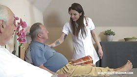 Old vs Young porn almost irresistible nurse Nana Garnet and one guys