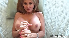 Mature blond housewife with phat milk globes is frolicking with say no to paramour's rock rigid manstick
