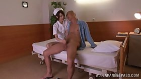 Slender Japanese nurse rides a huge boner cowgirl pose after giving a blowjob
