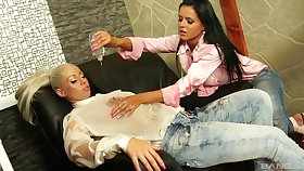 Laetitia and Candy Aurous incorporate oil here their dirty lesbian knick-knack play