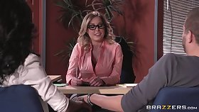 Lingerie wearing boss lady Payton West fucked on the office game table