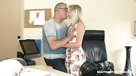 Senior fucks blond teen in the air full of life tits Tyna Gold in the office