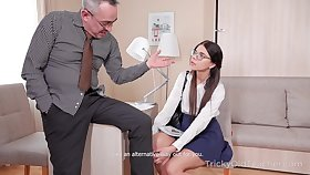 Nerdy coed Emily is fucked and jizzed by kinky old teacher