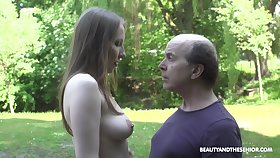 An old fart explores a tall young woman and lose concentration babe fucks like mad