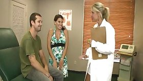 Lucky guy gets a double handjob from his become man and a blonde doctor